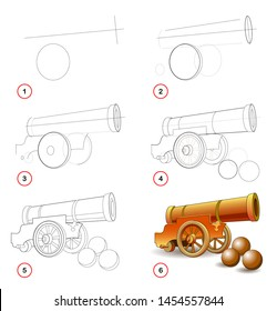Page shows how to learn step by step to draw cannon, type of military gun used in artillery. Developing children skills for drawing and coloring. Printable worksheet for kids. Vector cartoon image.
