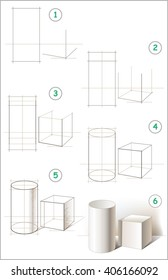 Page shows how to learn step by step to draw a still life with cylinder and cube. Developing children skills for drawing and coloring. Vector image.