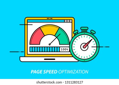 Page speed optimization. Colorful illustration on bright cyan background. Modern outline style.