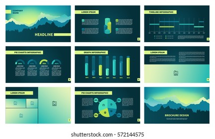 Page template with elements for infographics on a black background. Presentation templates. Use in presentation, flyer, corporate report, marketing, advertising, annual report. Vector illustration