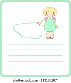 Page template with frame, cute smiling girl and ruling to letter. Vector.