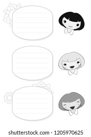 Page template with frame, cute smiling girl. Vector.