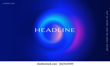 Page template with futuristic multicolor spiral on dark background. For home screen, wallpaper, cover, poster and more. Vector can be enlarged to any size.