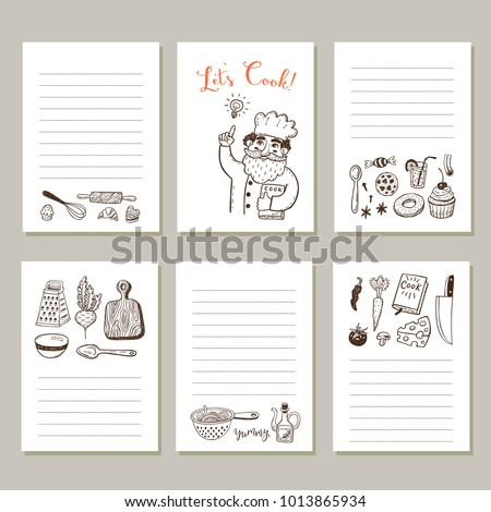 Notes Page Template | Page Template Set Notes Cooking Recipe Stock Vektorgrafik