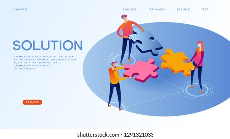 Page template of solution. Modern 3d isometric vector illustration of web page design.
