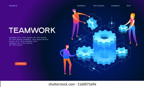 Page template of teamwork. Modern 3d isometric vector illustration of web page.  Design concept.