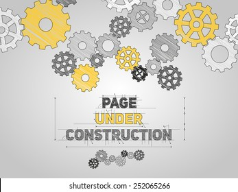 Page Under construction concept, sketched drawing with gear wheels