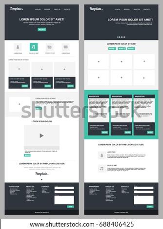 Flat modern website template stock vector illustration of button.