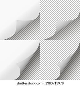 Pages curl set. Page peel transparent. Vector illustration