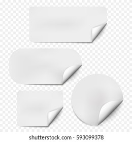 Pages curl set with shadow on blank sheet of paper. White paper sticker. Element for advertising and promotional message isolated on white background. Vector illustration for your design and business