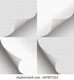 Pages curl set stylish illustration vector design