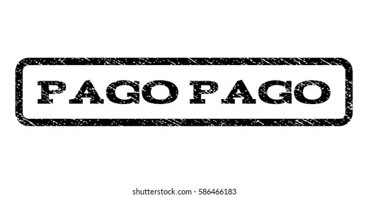 Pago watermark stamp. Text caption inside rounded rectangle frame with grunge design style. Rubber seal stamp with scratched texture. Vector black ink imprint on a white background.
