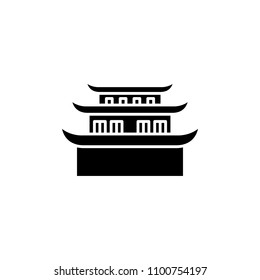 Pagoda black icon concept. Pagoda flat  vector symbol, sign, illustration.