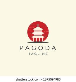 Pagoda japan temple logo icon design template vector illustration