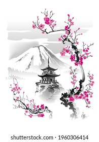 A pagoda in the mountains against the background of blossoming sakura branches. Vector illustration in traditional oriental style.