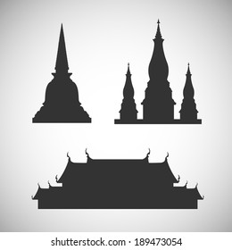 Pagoda and temple silhouette - Illustration