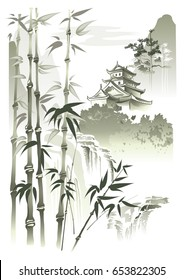 Pagoda at the waterfall. Pagoda in the mountains at the waterfall. Vector imitation of Chinese painting.