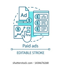 Paid ads blue concept icon. Online marketing idea thin line illustration. PPC channel. Commercial connection. Pay per click advertising campaign. Vector isolated outline drawing. Editable stroke