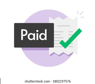 Paid bill invoice icon vector status button of success completed payment flat symbol, concept of valid verified pay notice notification with check mark receipt, money payout done