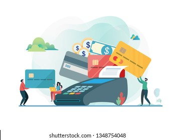 Paid by credit card. Shopping on line. People and credit card machine.  Flat vector illustration modern character design. For a landing page, banner, flyer, poster, web page.