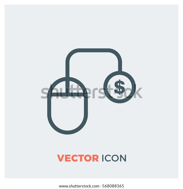 paid click line vector icon