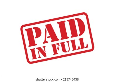 PAID IN FULL red rubber stamp vector over a white background.