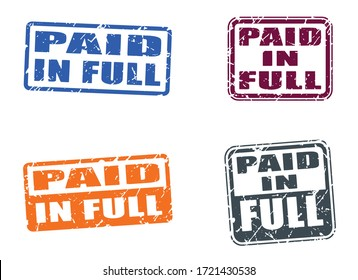 Paid in full stamp in grunge texture. Rectangle shape. Vector illustration.