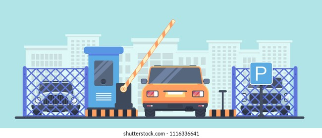 Paid guarded parking for cars. Entry through the checkpoint with booth and barrier. Car back view. Vector flat illustration