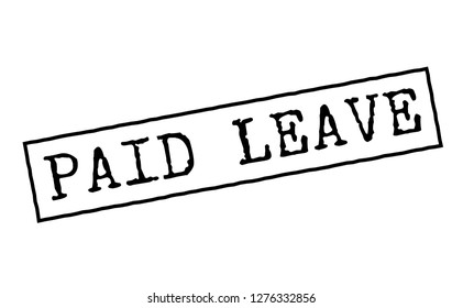 Paid leave black rubber stamp. Typographic series.