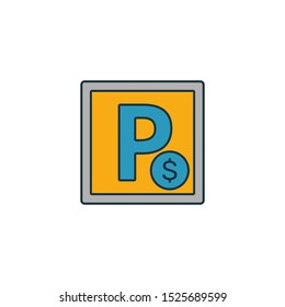 Paid Parking icon. Outline filled creative elemet from airport icons collection. Premium paid parking icon for ui, ux, apps, software and infographics.