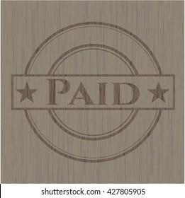 Paid retro wooden emblem