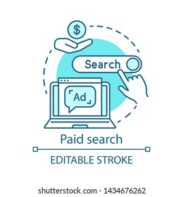 Paid search blue concept icon. PPC channel idea thin line illustration. Digital marketing strategy. Pay per click model. Search engine results. Vector isolated outline drawing. Editable stroke