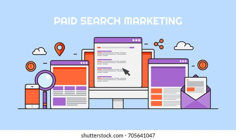 Paid search marketing, pay per click, PPC campaign, Sponsored content flat line vector banner illustration with marketing icons