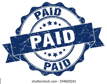 paid. stamp. sticker. seal. round grunge vintage ribbon paid sign