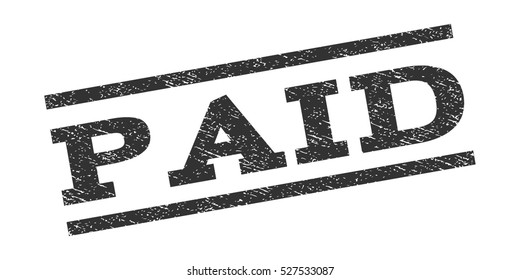 Paid watermark stamp. Text caption between parallel lines with grunge design style. Rubber seal stamp with scratched texture. Vector gray color ink imprint on a white background.