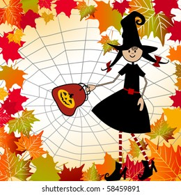 paige goes out for Halloween - fall leaves