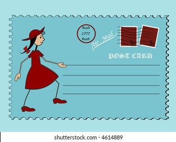 paige on a postcard vector