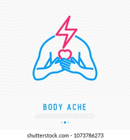 Pain in chest, heart attack thin line icon. Modern vector illustration.