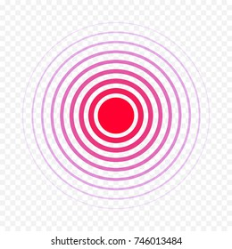 Pain circle red icon for medical painkiller drug medicine. Vector red circles target spot symbol for pill design template of body muscular joint pain and headache health care first aid concept.