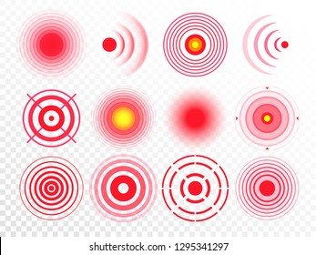 Pain circles. Red painful target spot, targeting medication remedy circle and joint pain spots. Muscle pain, painful headaches or health healing sound wave isolated vector icons set