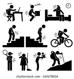 Pain in Human Body Parts on Various Poses and Positions Stick Figure Pictogram Icon