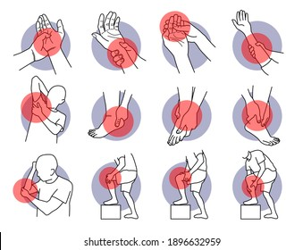 Pain and injury on hand and leg parts. Vector illustrations of painful hand, fingers, arm, leg, ankle, heel, knee, and elbow. Symptoms of muscle sprain, soreness, ligament, and injury problems.