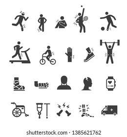 pain, injury, from sport and exercise activities icon set