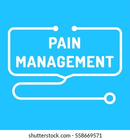 Pain management. Stethoscope icon. Flat vector illustration on blue background.