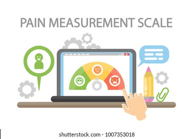 Pain measurement scale. Hands picking mood on laptop.