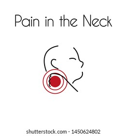 Pain in the neck linear icon. Vector abstract minimal illustration of young man with red spot on his neck suffers from pain. Design template for medicine or therapy for headache