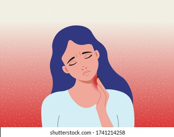 Pain in the neck.The woman holding hand on neck in pain. Cartoon vector illustration.
