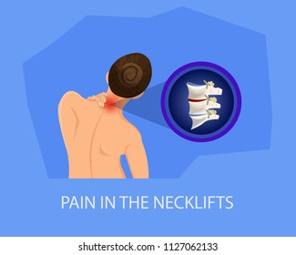 Pain in Necklifts. Treatment of Cervical Spine. Recommendations for Treatment of Pain. Visit to Hospital and Treatment of Spine. Protrusion in Cervical Spine. Vector Illustration.