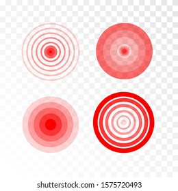 Pain red circle or ache localization icon. Body painful spot marks. Muscle pain, painful headaches or healt. Sonar waves isolated on transparent background.