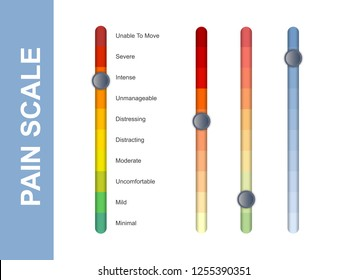 Pain scale slider bar. Assessment medical tool. Line vertical chart indicates pain stages and evaluate suffering. Vector illustration clipart